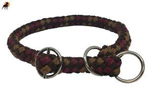 G2 Tauwerk Halsband mit Zugstop 12mm, geflochten, Ringe verchromt, Havanna