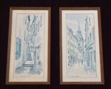 Pair R. ERIKSSON Signed LITHOGRAPHS Blue Tint FRAMED Mid-Century Modern SWEDEN