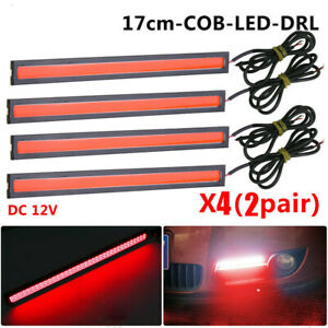 4X Red Super Bright COB Car LED Light DRL Fog Driving Lamp Waterproof 12V NEW