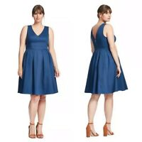 Fervour Modcloth Blue Pleated Sleeveless Timeless Fit Flare Party Dress Sz 1X