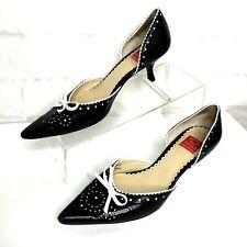 OSCAR DE LA RENTA black/white leather pointy toe kitten heel shoes size 6 1/2M