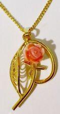 pendentif chaine bijou vintage rétro doré or fin fleur vrai corail rose * 4890