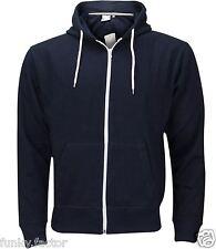 Mens Boys American Plain Fleece Hoodie Zip Up Sweatshirt Jacket size UK S-3XL
