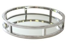 Art Deco Round Silver Mirror Serving Tray 28cm Vanity/Bedroom/Candle Holder