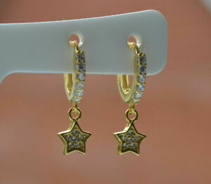 1.00 Ct Round Cut VVS1 Diamond Dangle Earrings 14K Yellow Gold Over Clip On