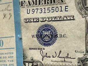 "FIVE (5) 1935 D $1 SILVER CERTIFICATES VERY RARE ""NO MOTTO"" GEM UNCIRCULA CONSEC"