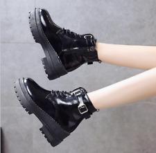 Platform Womens Black Combat Booties Lace Up Wedge Shoes High Top Sz 35-39 hot