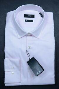 Hugo Boss Men's Jenno Fresh Active Slim Fit Pink Striped Dress Shirt 39 15.5