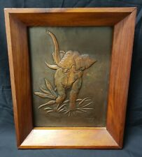 VINTAGE 1964 HAMMERED COPPER WALL ART ELEPHANT WITH SOLID WOOD FRAME AND BACKING