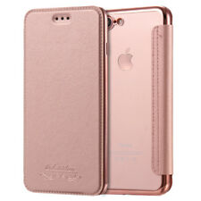 For iPhone X 7 8 Plus Flip Leather Glossy Transparent Wallet Card Case Cover Bag