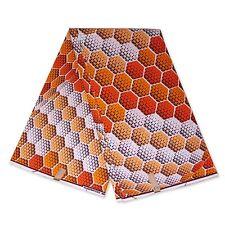 "African fabric ORANGE wax fabric ""ICE CUBES"" Ankara kitenge wax print cloth"