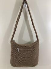 The Sak Crochet Hobo Shoulder Bag Bamboo Tan Brown Zip Closure