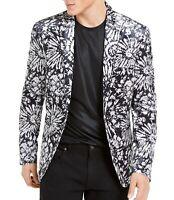 INC Mens Blazer Black White Size 2XL Velvet Slim-Fit Floral Two-Button $149 125