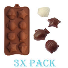 Set of 3 Silicone Sea Shells fish Mold candy Ice cube Tray Chocolate DIY Soap