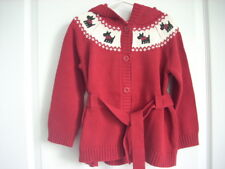 Gymboree HOLIDAY FRIENDS Red Scottie Dog Cardigan Sweater Girl Size 4 EUC Winter