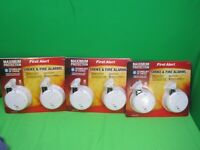 Lot of 3 First Alert Smoke & Fire Alarms 540004 - 2 Pack Maximum Protection New