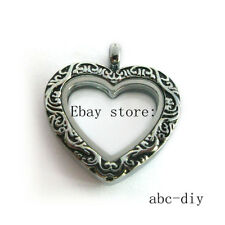 1pcs  Retro color heart floating glass Locket fit DIY living  floating charms