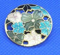 Pin Cloisonne Flower Brooch Round Gold Tone Floral Pink Blue Brown Vintage