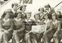 1956 TWA AIRLINES STEWARDESS IDENTICAL TWINS FLIGHT ATTENDANT AIRPLANE 5X7 PHOTO