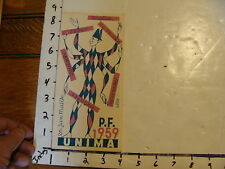 Vintage MARIONETTE Paper: P. F. 1959 UNIMA card 2 color SIGNED IN PENCIL