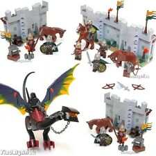 Lego Custom Osgiliath Walls Custom Nazgul Dragon & Eomer with Rohan Soldiers NEW