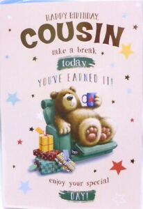 """Cute Bear Relaxing With Cup Of Tea & Presents """"COUSIN"""" Birthday Card"""
