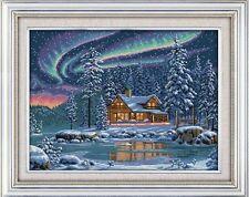 GRANDE CABINA Aurora Cottage contati Punto Croce Kit-non DMC/ANCHOR 14ct