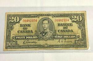 1937 CANADA $20 Twenty Dollars Bank Note, George VI, Gordon-Towers