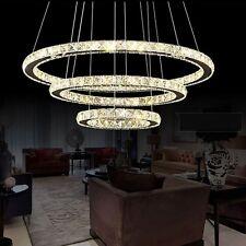 72W Warm Kristall LED Deckenlampe Hängelampe Pendel Kronleuchte Wohnzimmer 3Ring