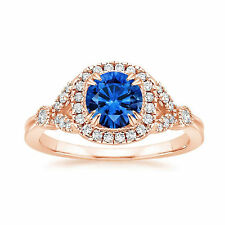 1.60 Ct Natural Diamond Blue Sapphire Rings 14K Rose Gold Gemstone Ring Size 6 5
