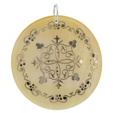 Floral Design Engraved Gold Tone Mother of Pearl Charm Pendant #GP071