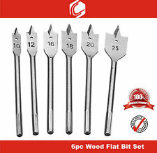 6pc Flat Wood Boring Drill Bit Set - Wood working
