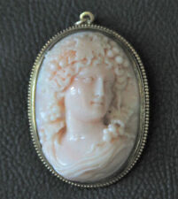 Italian Coral High Relief Cameo in 18K Frame, Mid 19th Century