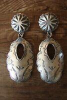 Navajo Indian Jewelry Sterling Silver Hand Stamped Earrings! - Yazzie