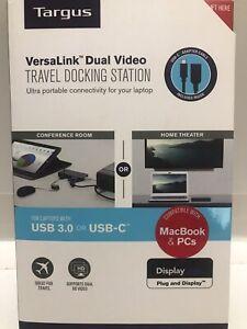 Targus USB 3.0 & USB-C HDMI VGA Dual Video Travel Docking Station