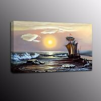 HD Canvas Prints Art Seascape Boat Oil Painting Canvas Wall Art Home Decor