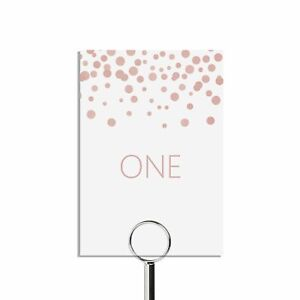 Blush confetti Table number cards for wedding reception, numbers 1-15 plus top t