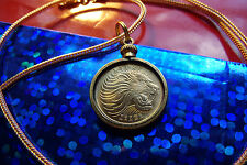 """GOLDEN"" AFRICAN LION COIN PENDANT on a 28"" Gold Filled Foxtail Snake Chain"