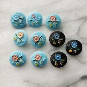 Vintage Blue & Black Glass Shank Buttons w/ Hand Painted Pastel Flowers