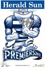 "AFL GEELONG CATS HERALD SUN WEG 2011 PREMIERS POSTER ""LICENSED"" BRAND NEW"