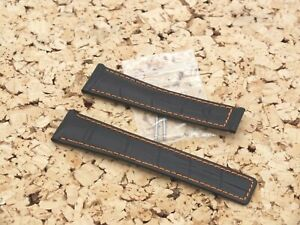 Strapjunkie Leather Croc Grain Deployment Watch Band 22mmO Black Fit TAG Heuer