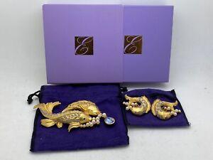 ELIZABETH TAYLOR AVON Sea Shimmer FISH Faux Pearl Sapphire Pin Brooch & Earrings