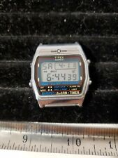 Quartz Alarm Chrono Watch Hour~New Batter Vintage Timex Men Silver Black Digital