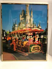 "VINTAG MICKEY MOUSE AND FRIENDS ON TROLLEY DISNEYLAND 20"" x 16"" FRAMED POSTER"