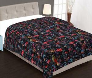 Indian Handmade Bird Print Kantha Quilt Cotton Bedspread Reversible Blanket New