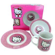 Hello Kitty Frühstücks Set 3 teiliges Geschirr Set Teller Schüssel Tasse