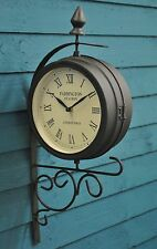 Victorian Style Paddington Station Garden Outdoor Wall Clock with Dual Face