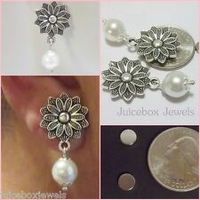 MAGNETIC Flower Earrings White 10mm Faux Pearl Drop DANGLE Non-Pierced #MAG113