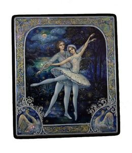 Kholui Russian Lacquer Box Ballet - Swan Lake Painted over Mother of Pearl #4193