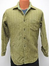 vtg Pendleton MOSS OLIVE HERRINGBONE Shirt Fits S Wool Flannel 60s/70s SMALL usa